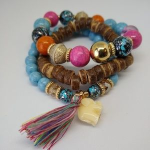 Boho 3-layer Bracelet with Elephant Charm